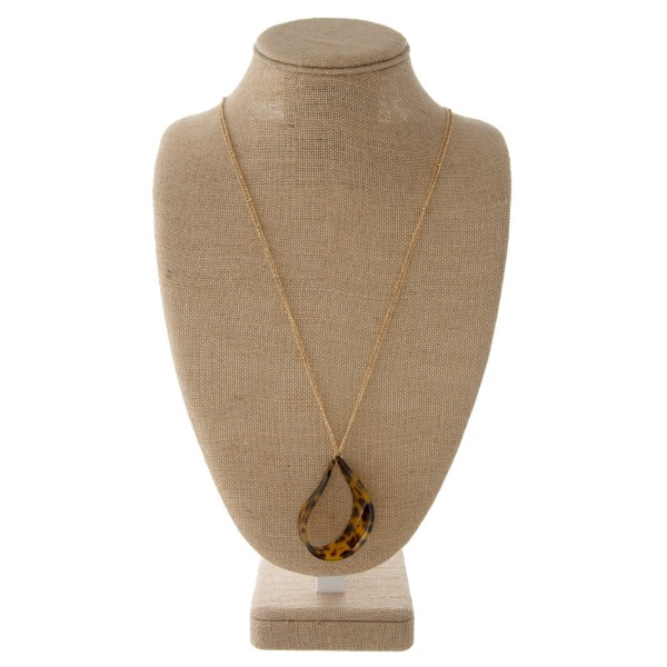 """Long gold tone chain necklace with acetate teardrop pendant. Approximately 30"""" in length with a 2"""" pendant."""