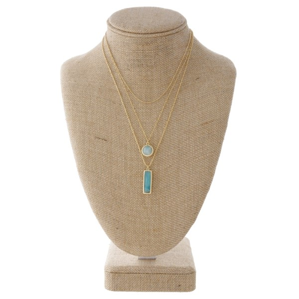 "Layered necklace with natural stone detail. Approximately 16-18"" in length."
