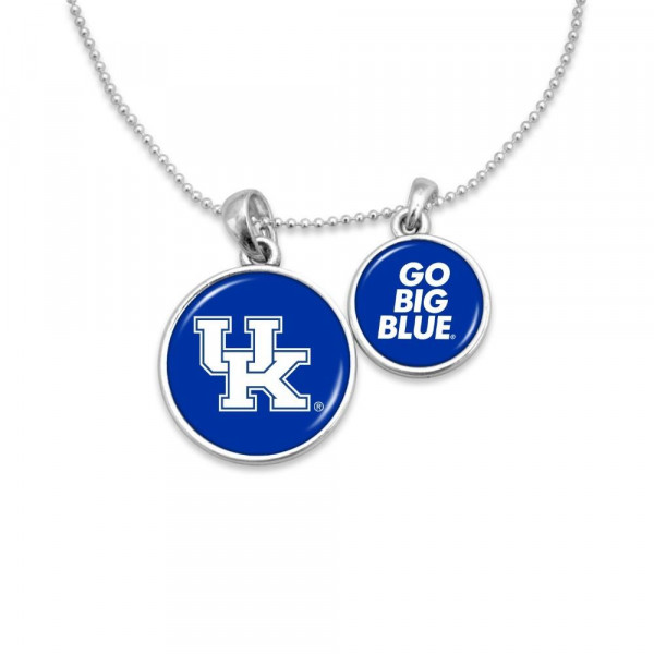 """Officially licensed, silver tone necklace with two pendants and university logo. Approximately 16"""" in length."""