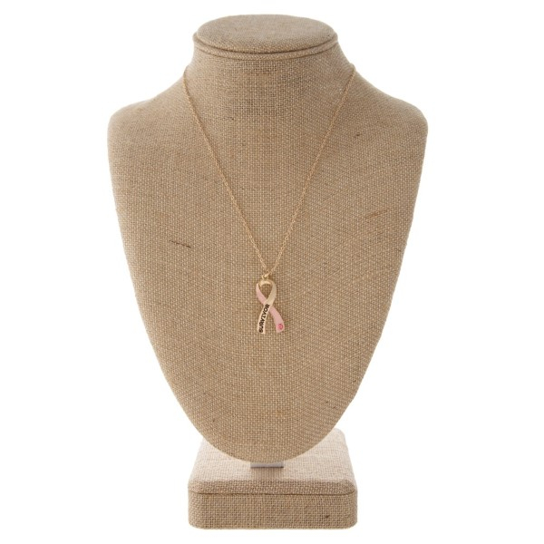 "Short necklace with breast cancer awareness ribbon charm. Approximately 16"" in length."