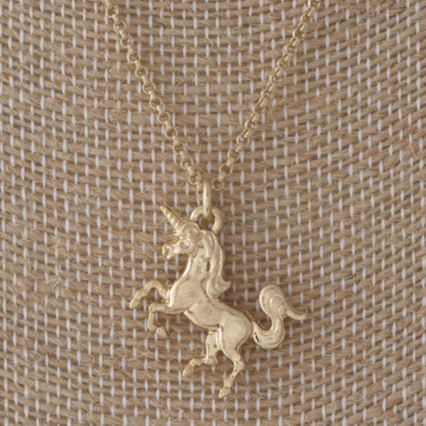 "Short necklace with a unicorn charm. Approximately 16"" in length."