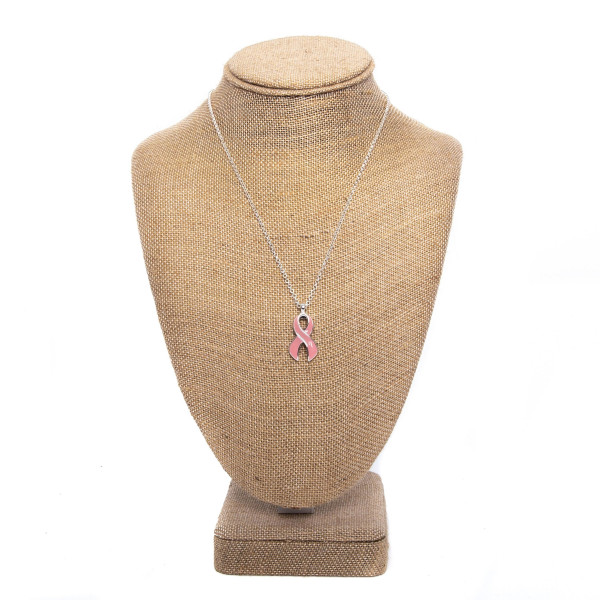 "Short metal necklace with breast cancer awareness ribbon charm. Approximately 16"" in length."