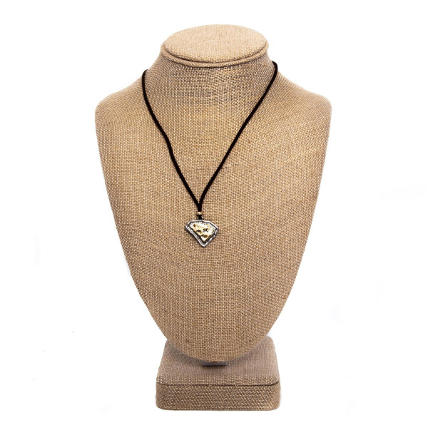 """Short faux leather cord necklace with state charm. Approximately 18"""" in length."""