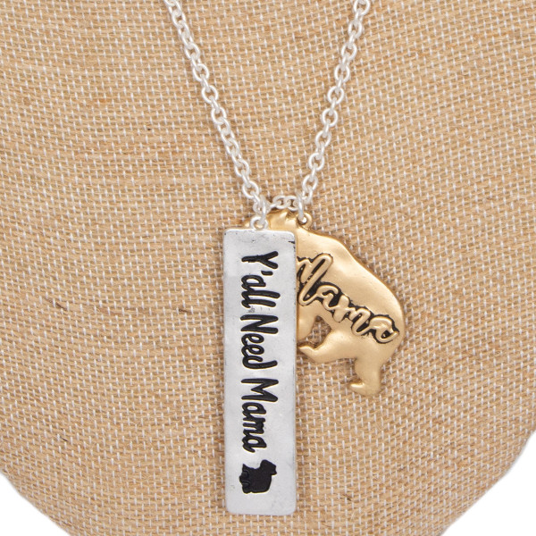 """Long metal necklace with bar charm stamped with mama bear. Approximately 32"""" in length."""