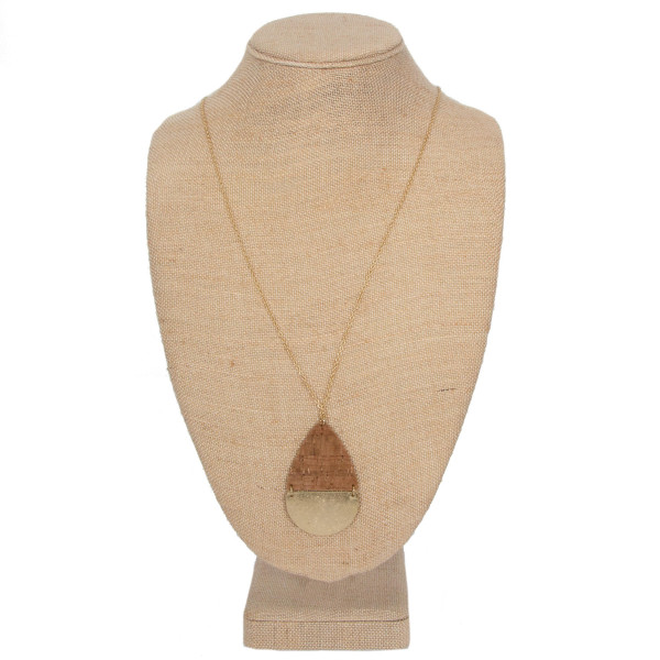 "Long gold tone necklace with teardrop pendant. Approximately 32"" in length."