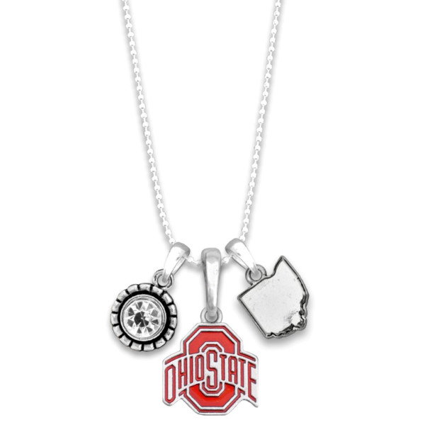 """Officially licensed metal necklace with university logo. Approximately 16"""" in length."""
