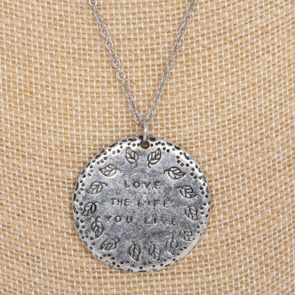 """Short necklace stamped with Love the Life you Live. Approximately 16"""" in length."""