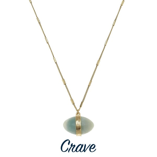 "Short gold tone necklace with natural stone pendant. Approximately 16"" in length."
