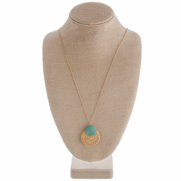 """Long gorgeous metal necklace with wood pendant details. Approximate 32"""" in length with 1"""" pendant."""