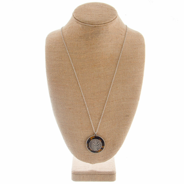 """Long metal necklace with circle pendant. Approximately 34"""" in length with a 2.0"""" pendant."""