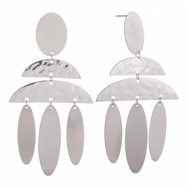 "Long metal earrings for everyday wear. Approximate 3"" in length."