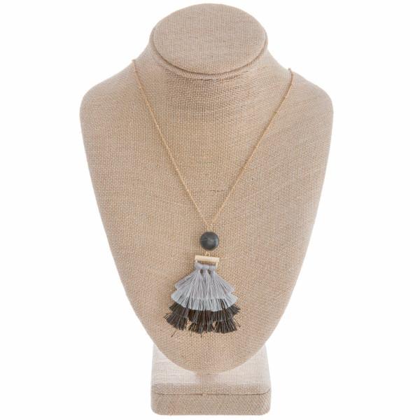Wholesale gorgeous long metal necklace tassel pendant Approximate tassel