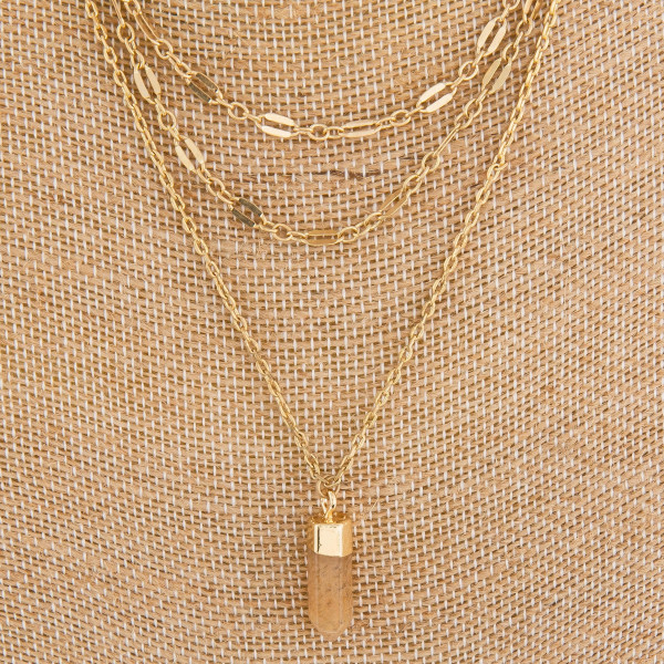 "Long metal layered necklace with crystal pendant.  Approximate 18"" in length with 1"" pendant."