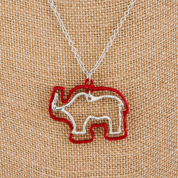 """Gorgeous long metal necklace with double Elephant pendant.. Approximate 30"""" in length with 1""""pendant."""