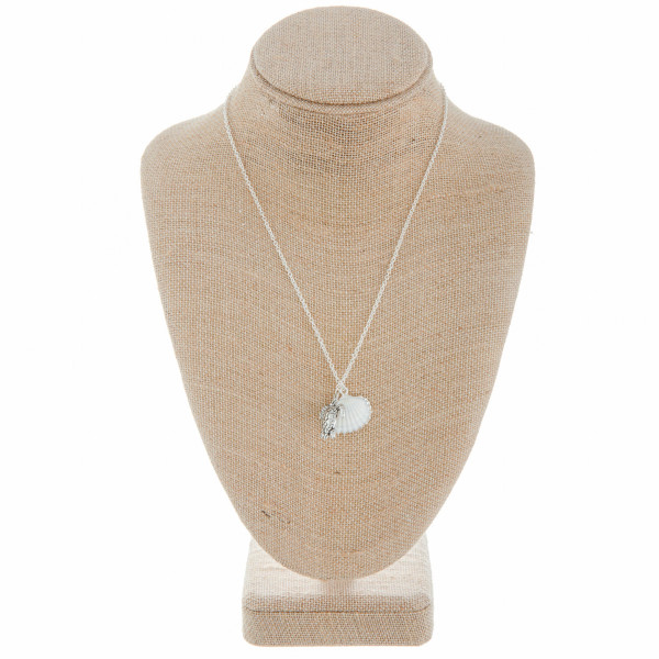 "Long metal necklace with sea shell pendant. Approximate 18"" in length with 1"" pendant."