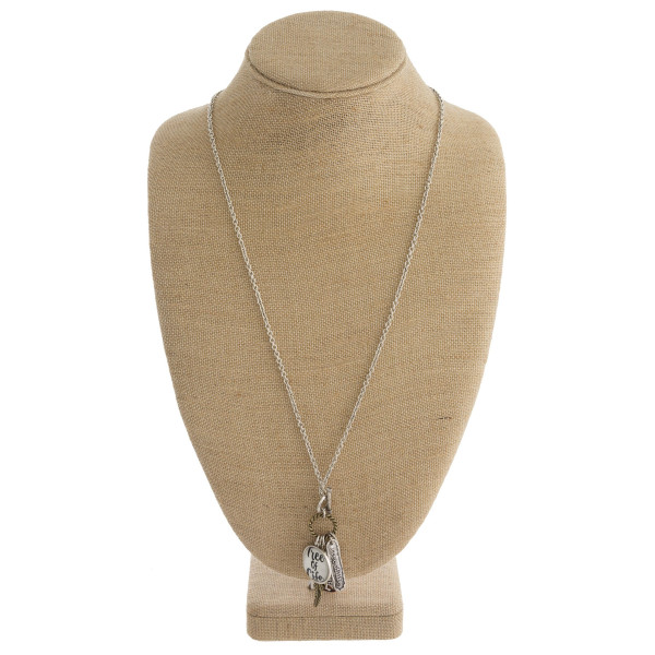 """Long metal necklace with inspirational messages and charms. Approximate 28"""" in length."""