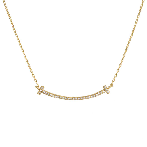 "Gorgeous gold dipped necklace with small double cross pendant. Approximate 20"" in length with .5"" pendant."