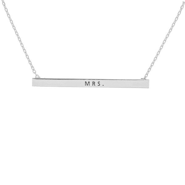 "Long metal necklace with ""Mrs"" message. Approximate 16"" in length."