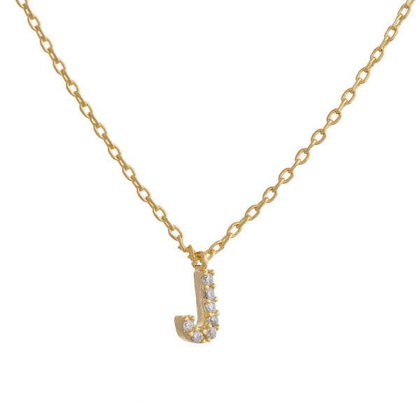 """Gold dipped necklace with initial """"J"""" pendant. Approximate 20"""" in length with 0.5"""" pendant."""