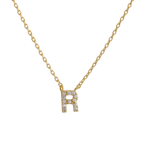"""Gold dipped necklace with initial """"R"""" pendant. Approximate 20"""" in length with 0.5"""" pendant."""