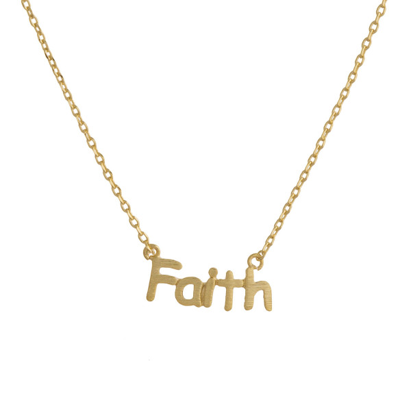 "Gorgeous short inspirational message necklace.  Approximate 18: with 1"" pendant.  Faith"