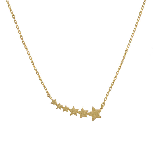 "Gorgeous necklace with small shooting star pendant. Approximate 20"" in length with .5"" pendant."