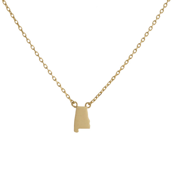 """Gold dipped necklace with Alabama state pendant. Approximate 15"""" with 0.5"""" pendant."""