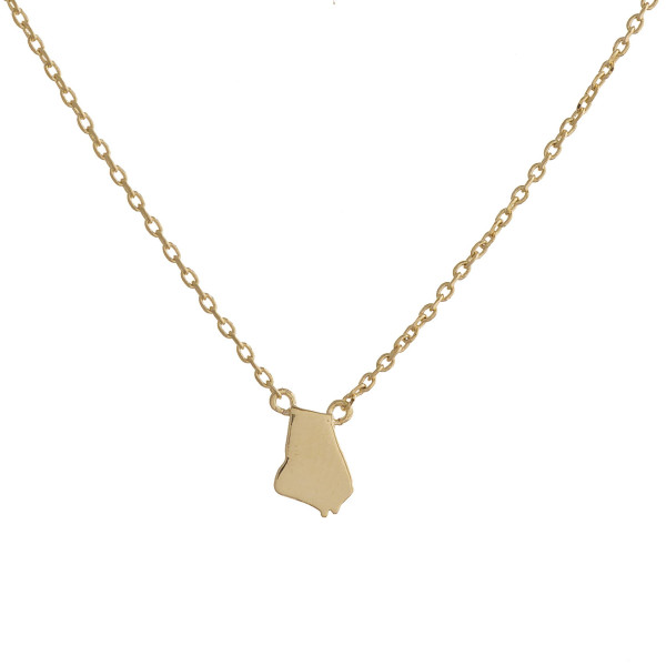 """You will not go wrong showing off your state pride with this fabulous gold dipped chocker/collar necklace with your favorite state as your pendants. Very gorgeous and light weight. Approximate 16"""" in length. .5"""" pendant."""