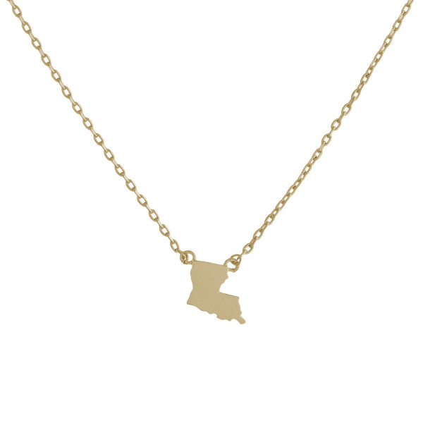 """Gold dipped necklace with Louisiana state pendant. Approximately 15"""" with 0.5"""" pendant."""