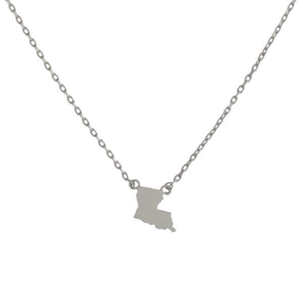 """Gold dipped necklace with Louisiana state pendant. Approximate 15"""" with 0.5"""" pendant."""