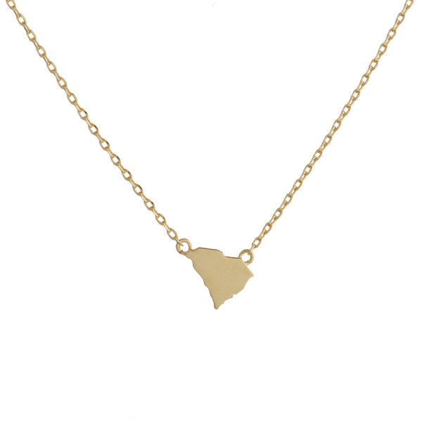 "Gold dipped necklace with South Carolina state pendant. Approximate 15"" with 0.5"" pendant."