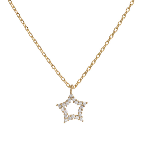 "Gold dipped necklace with small star pendant. Approximate 20"" in length with .5"" pendant. ."