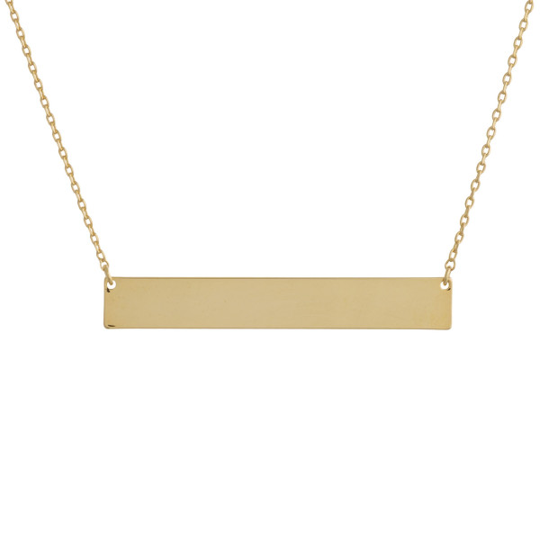 "These bar necklaces are prefect with any outfit. Gorgeous dipped in gold necklace with bar and engraved message. Very gorgeous and light weight. Approximate 16"" in length. .1"" pendant."