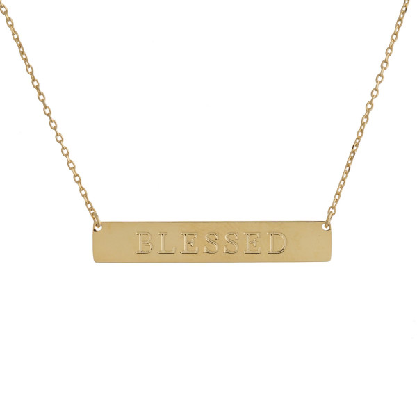 "These bar necklaces are prefect with any outfit. Gorgeous dipped in gold necklace with bar and ""Blessed""  engraved message. Very gorgeous and light weight. Approximate 16"" in length. .1"" pendant."