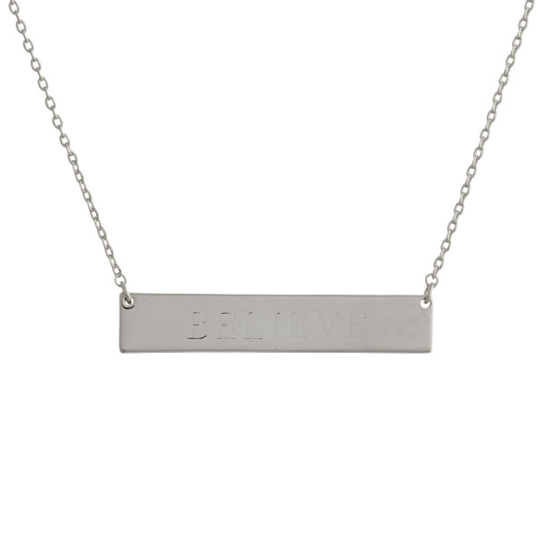 """These bar necklaces are prefect with any outfit. Gorgeous dipped in gold necklace with bar and """"Believe"""" engraved message. Very gorgeous and light weight. Approximate 16"""" in length. .1"""" pendant."""