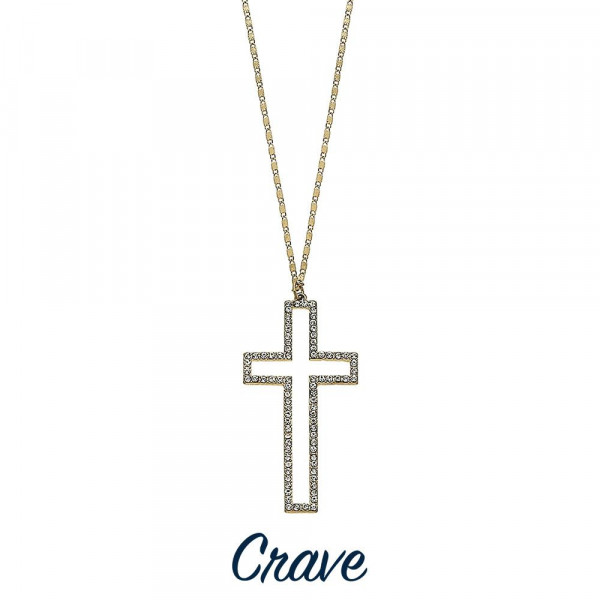 "Gorgeous long metal necklace with cross pendant. Approximate 26"" in length with 2.5"" pendant."