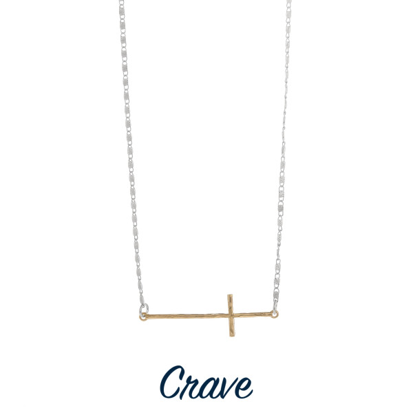 """Short necklace with horizontal cross. Approximate 16"""" in length with 2"""" pendant."""