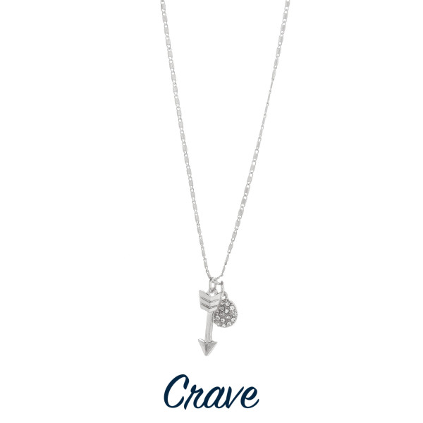 "Gorgeous short necklace with arrow pendant and rhinestone charm.  Approximate 18"" in length with 1.0"" pendant."