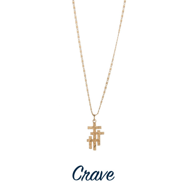 "Gorgeous short necklace with triple cross pendant  Approximate 18"" in length with 1.0"" pendant."