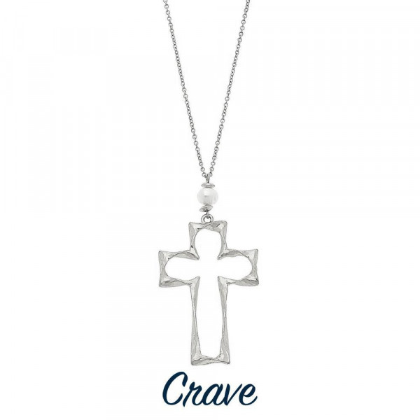 "Long hammered cross pendant necklace with faux pearl detail. Chain is approximately 30"" long. Pendant is approximately 1.75"" tall."