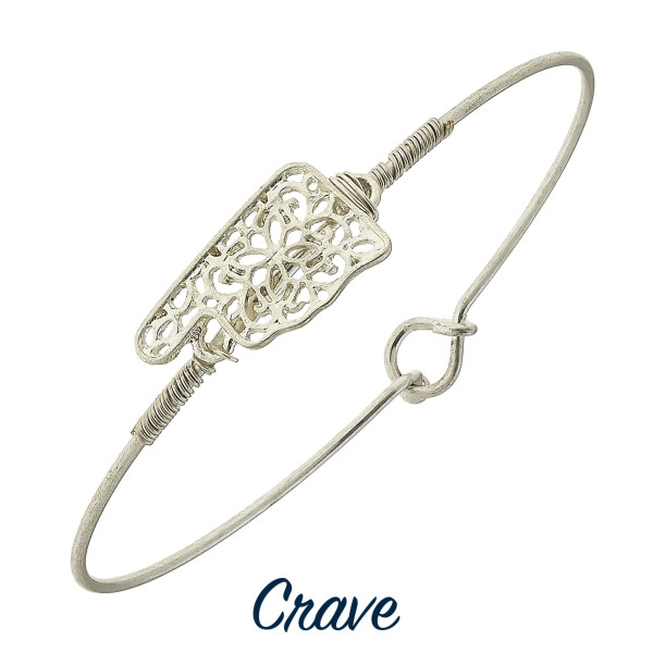 """Wire-wrapped filigree state bangle bracelet. Dainty focal is approximately 5/8"""" wide, depending on the shape of the state."""
