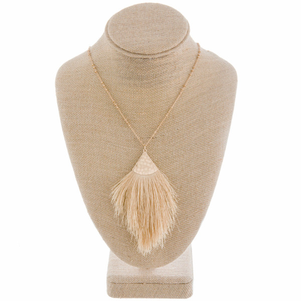 """Long metal gorgeous necklace with fanned tassel pendant with leather detail. Approximate 40"""" in length. with 3.5"""" pendant."""