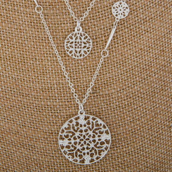 """Short layered necklace with charms and marble pendant. Approximate 14"""" and 16"""" in length with 1"""" pendant."""