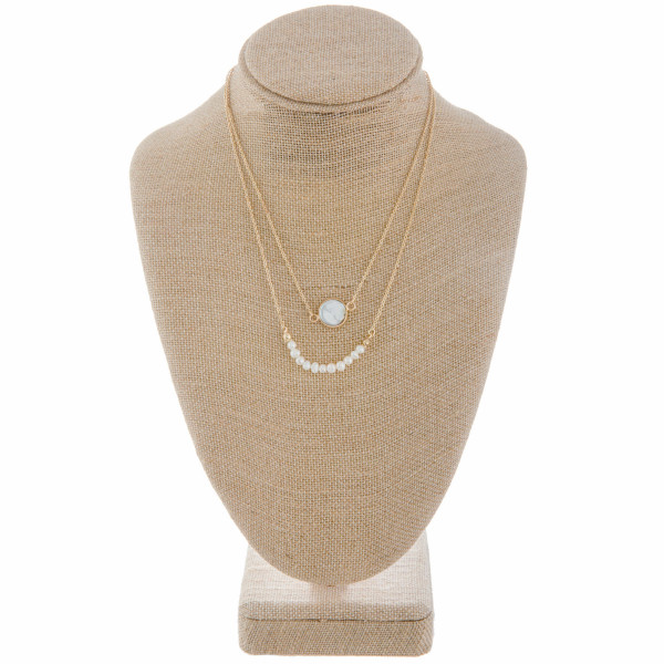 """Long metal layered necklace with pearls and pearl pendant. Approximate16"""" in length with 1"""" pendant."""