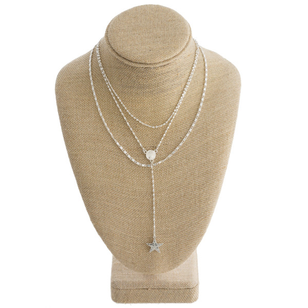 """Long layered necklace with star pendants. Approximate 22"""" in length."""