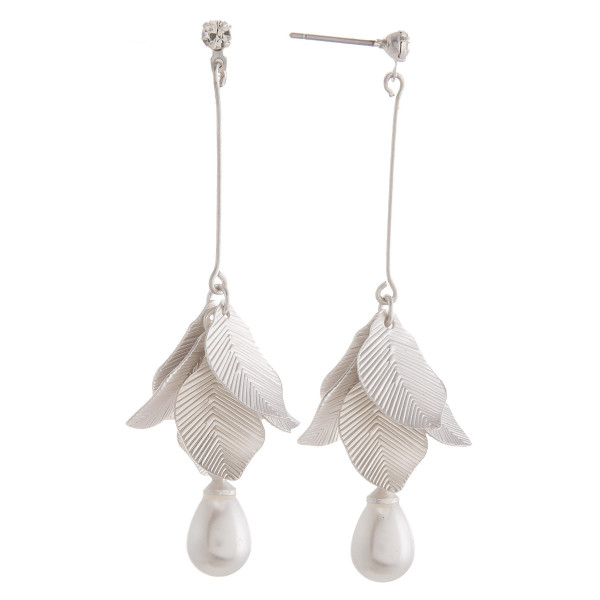 "Long metal fishhook clover earrings. Approximate 1.5"" in length."