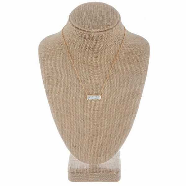 """Long metal necklace with natural stone pendant. Approximate 20"""" in length."""