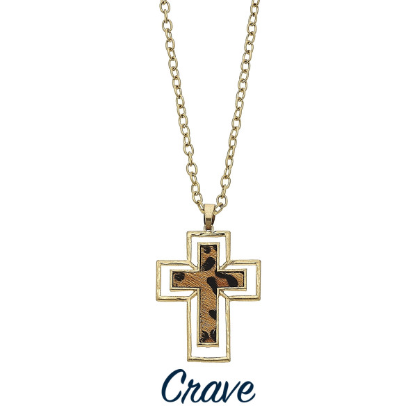 """Long chain link necklace with animal print cross pendant. Approximately 34"""" in length."""