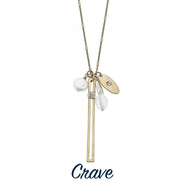 """Long metal necklace with pearl and crystal details with bar. Approximate 30"""" in length."""