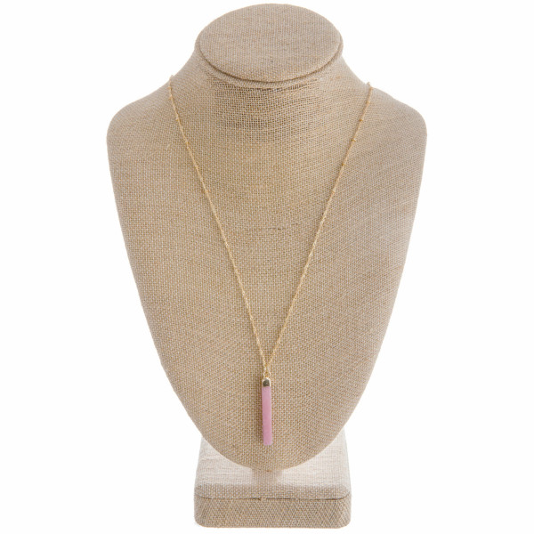 """Long metal necklace with natural stone pendant. Approximate 28"""" in length."""